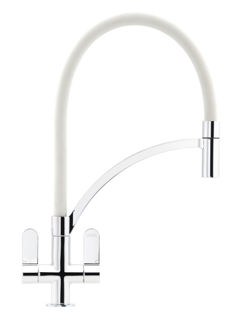 Picture of Franke Zelus 2 Handle Mixer Tap With Removeable Hose Chrome + White Hose