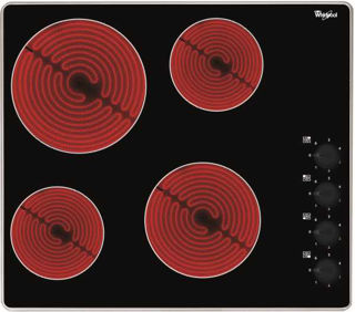 Picture of Whirlpool 60cm 4 x Zone Knob Control Ceramic Hob Stainless Steel Trim Black