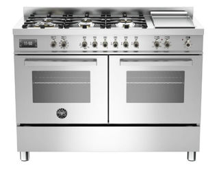Picture of Bertazzoni F/S 120cm Professional Range Cooker Twin Stainless Steel