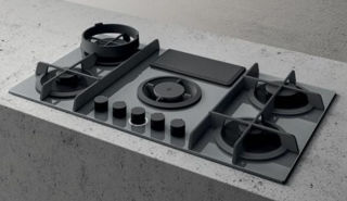 Picture of Elica 88cm Nikolatesla FLAME 4 x Zone Ducted Aspirating Gas Hob Grey