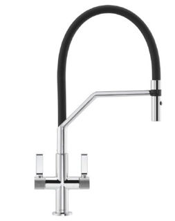 Picture of Franke Textura Semi-Pro Tap with Textured Shouder Detail Chrome + Black Hose