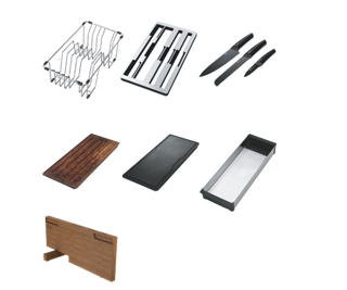 Picture of Franke Box Centre Accessory Set 3 x Knives 2 x Chopping Boards 1 x Strainer Bowl 1 x Draining Rack