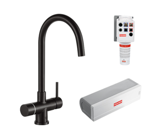 Picture of Franke Minerva Helix Electronic 4-in-1 Instant Boiling Water Tap Industrial Black Pack