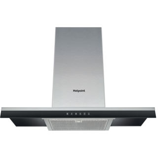 Picture of Hotpoint 90cm T Shaped Chimney Hood Stainless Steel + Black Panel