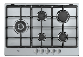 Picture of Whirlpool 73cm 5 Burner Gas Hob Cast Iron Pan Supports Front Controls Central Wok Stainless Steel